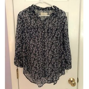 Abercrombie & Fitch Sheer Navy Floral Button Down